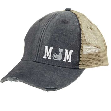 Cat Mom Trucker Hat - Distressed Snapback - off-center