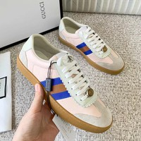 GUCCI Newest Fashionable Women Men Leisure Sport Flats Shoes Sneakers Pink