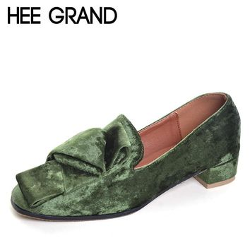 HEE GRAND 2017 Velvet High Heels Slip On Vintage Oxfords Casual Knot Shoes Woman Platform Women Brogue Shoes Size 35-40 XWD5185