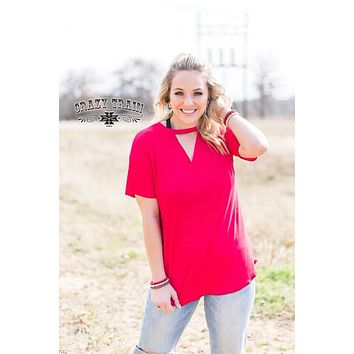 Red Textline VNeck Top