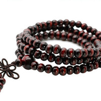 Fashion Luxury Sandalwood Buddhist Buddha Meditation 6mm 108 Prayer Bead Mala Bracelet  # D0078