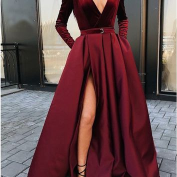 Sexy Slit Evening Dress V-Neck Burgundy Evening Gowns Party Dresses Velvet Long Prom Dresses S2580