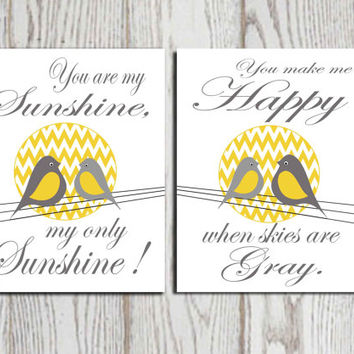 You are my sunshine Chevron Yellow and gray Set 2 Nursery wall art print Bird wall art Birds on a wire Boys or Girls bedroom decor DOWNLOAD