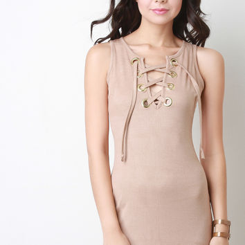 Vegan Suede Corset Lace Up Mini Dress
