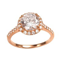 Sophie Miller 14k Rose Gold Over Silver Cubic Zirconia Halo Ring (White)