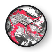 'Red and white marble texture.' Clock by kakapostudio
