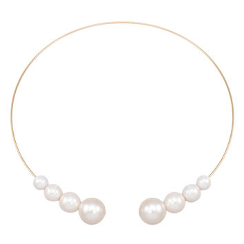 White Faux Pearl Open Choker Necklace