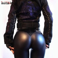 InstaHot PU Soft Elastic Skinny Pencil Pants Women 2018 Autumn Club Fashion Ruched Trousers Push Up Leggings Sexy Punk Pant Girl