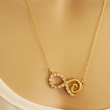 Gold Infinity Necklace with a Heart, 14k Gold Fill Delicate Chain Necklace, Set of Two Bridesmaids Necklace Infinity Charm Necklace LaLaMooD