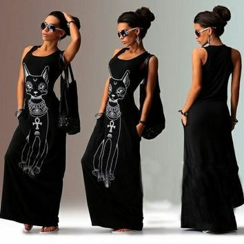 Sexy Long Black Gothic Punk Summer Dress with Sphynx  Cat