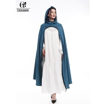 Cool ROLECOS Medieval Hooded Cloak Cosplay Costume Long Capes Halloween Costume for Men Women Wrap Party Fancy DressAT_93_12