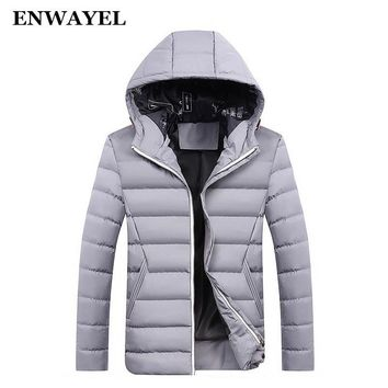 ENWAYEL Autumn Winter Parka Men Jacket Coat Outerwear Fashion Hood Padded Quilted Warm Male Jackets Hooded Casual Wadde DQ6678