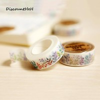 1 Pcs 1.5cm*10m Herbaceous Plant Washi Tape Diy Decoration Scrapbooking Planner Masking Tape Adhesive Tape Kawaii Stationery