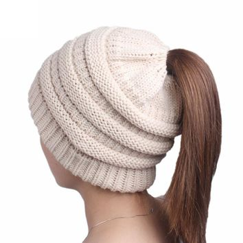 FEITONG Women's winter hats Fashion Ladies Knitting Cancer Hat Beanie Turban Head Wrap Cap Casual 8 Solid Colors Female caps