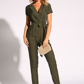 Olive Collared Waist Tie Jumpsuit