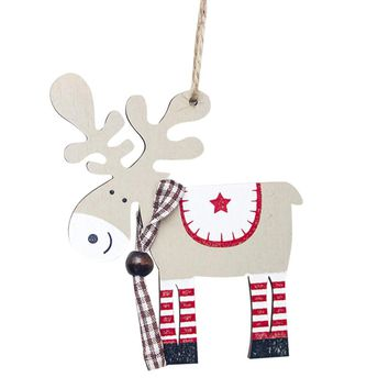 1PCS wooden painted elk Christmas Tree Decoration Pendant XMAS Drop Natal Ornaments Christmas Decorations For Home kids gift Q4