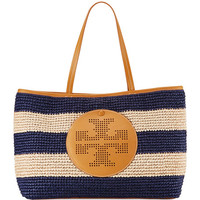 Tory Burch Straw Perforated Logo Tote Bag