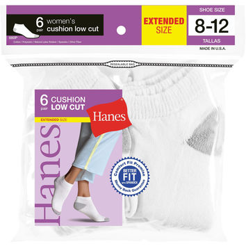 Hanes Womens Low Cut Cushion Socks, 6-Pack (Shoe Size 8-12)