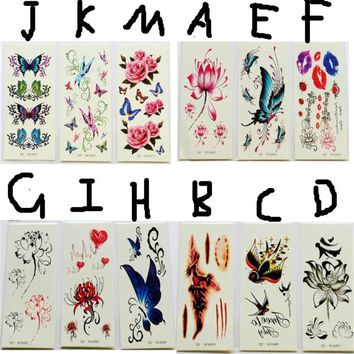 Tattoo Sticker  Waterproof Temporary  3D Butterfly Flower
