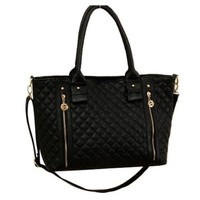Black Quilted Zipper Purse Tote Shoulder Hand Bag Satchel