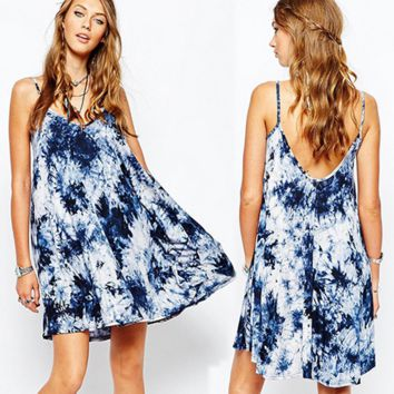 Tie-dye Ink Printing Loose V-neck Halter Dress A-line Dress