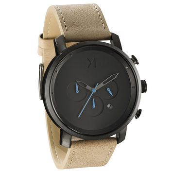 MVMT - Men's Chrono Gun Metal/Sandstone Leather Watch