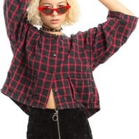 Vintage 80's Avant Garde Cropped Swing Plaid Shirt - One Size Fits Many