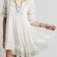 White V Neck Lace Embroidery Ruffle Hem Dress