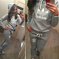"""Casual Print Hoodie Top Sweater Pants Trousers Set """"Adidas"""" Two-piece Sportswear"""
