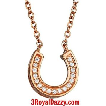 Rose Pink Gold layer on Sterling Silver CZ Crystal Horseshoe Pendant Necklace