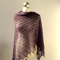 Purple Plum hand knitted lace shawl