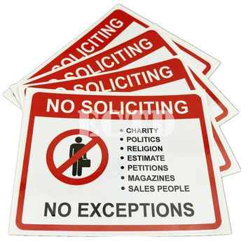 No Soliciting No Exceptions sales trespassers sign signs decal sticker 125x102mm 5pcs