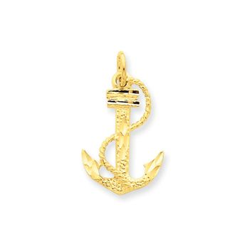 14k Yellow Gold Diamond Cut Satin Anchor with Rope Charm
