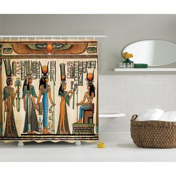 Egyptian Decor Collection, Egyptian Papyrus Depicting Queen Nefertari Making an Offering to Isis Picture, Polyester Fabric Bathr