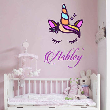 Unicorn wall decal Custom Name Vinyl Wall Decal Large Wall Decal Smiling Unicorn Decal Happy unicorn decal Unicorn lashes cik2281