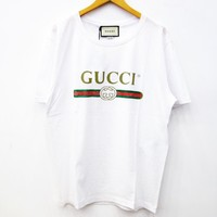 """Gucci""Trending Unisex Letter Print Round Collar T-shirt Top White I"