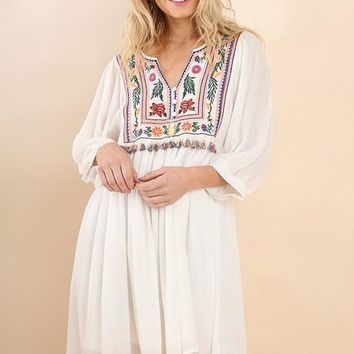 White Embroidered Tassel Babydoll Dress