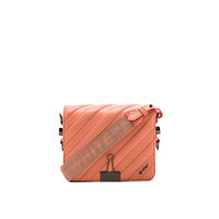 OFF-WHITE Diagonal Quilted Flap Bag in Salmon