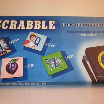 1958 Scrabble Board Game for Kids in Original Box all in Excellent Condition Great Wall Hanging or Decor