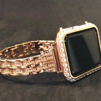 Apple Watch Band Bangle Cuff Rhinestone Crystals Rose Gold Chain 38mm/40mm 42mm/44mm Series 1,2,3,4 /Case Cover Bezel 3mm Lab Diamonds CZ's