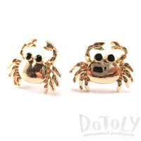 Crab Shaped Cancer Zodiac Ocean Inspired Stud Earrings in Gold