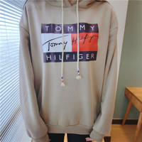 """Vintage Tommy Hilfiger"" Women Fashion Hooded Top Sweater Pullover Sweatshirt"
