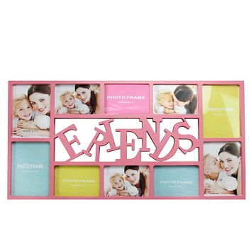 """28.75"""" Pink """"Friends"""" Photo Picture Frame Hanging Collage"""