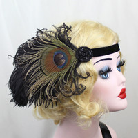 Champagne Peacock Feather Fascinator, Art Deco Headband, Head Piece, Great Gatsby, halloween Costume, 1920s Flapper, Batcakes Couture