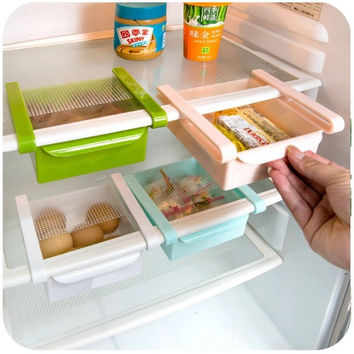 Free Shipping - Fridge Organizer Refrigerator Freezer Storage Tray Kitchen Organizer Preservation Layer Desk Table Organizer Drawer Organization