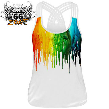 Rainbow 3d Print Black Weaved Spaghetti Strap Women's Workout Tank Top