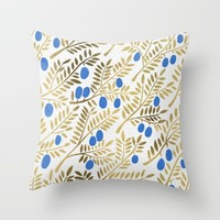 Olive Branches – Gold & Blue Throw Pillow by Cat Coquillette