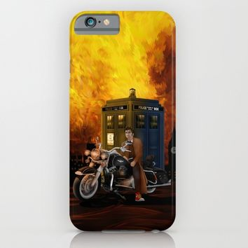 10th Doctor who with Big Motorcycle iPhone & iPod Case by Three Second