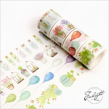 Sweet donut wish bottles greenhouse balloon cactus decoration scotch washi tape DIY diary planner scrapbook masking tape