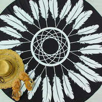 Geometric Feather Print Round Beach Blanket -SheIn(Sheinside)
